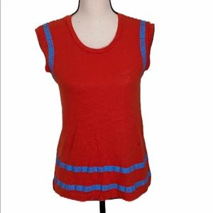 Madewell Red Blue Muscle Tee Sleeveless Size XS